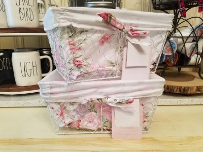 2 New Rachel Ashwell Shabby Chic Baskets With Liners