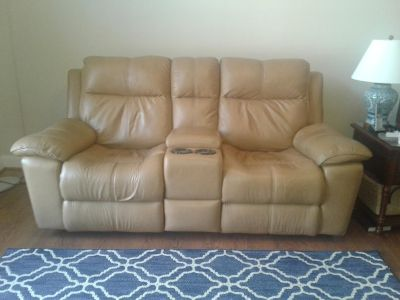Tan Flexsteel Genuine Leather Dual Electric Recliner w/ Storage & Cupholders Very Good Condition
