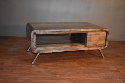 Rustic Reclaimed Solid Wood Coffee Table with o...