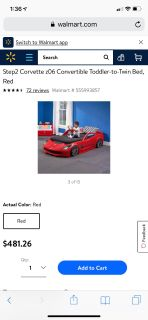 Corvette toddler and twin car bed