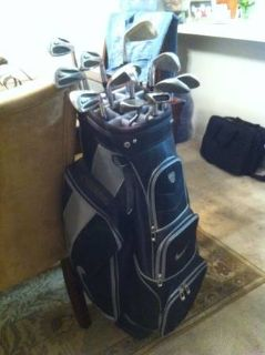 Golf clubs and bag.  Nike Tour Slingshots and Nike cart bag