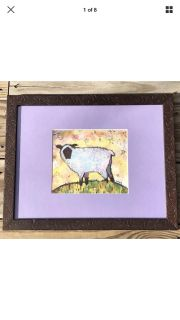 Starry Night Sheep Art Print Signed Swinson Professionally Matted and Framed
