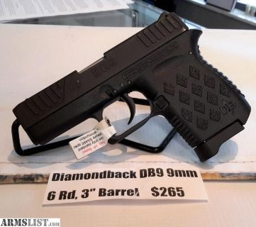 "For Sale: NEW Diamondback DB9 9mm, 6Rd & 3"" Barrel"