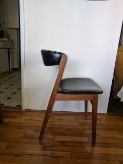Black Leather and Wood Chairs
