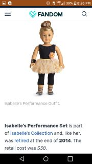American Girl doll Isabelle's Performance set. New in box