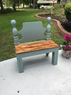 Antique youth bed headboard child s bench.