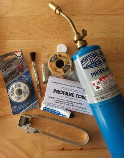Propane torch kit with lots of solder and supplies (refillable propane tank)