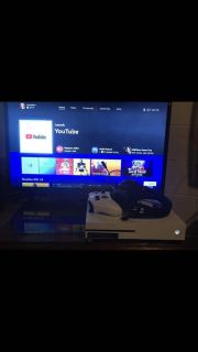 Xbox one w/ controller and headset and thumb grip