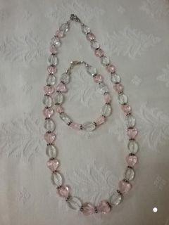 Pink and white necklace with matching bracelet