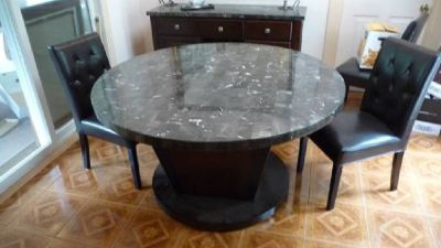 "Round Table, 54"" DIA, seats 8, Marble top, Wood base, w/ Matching Server"