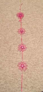 Pink Flowers Strand to hang and clip bows on