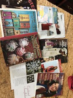 Crocheting and knitting books and projects