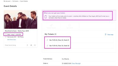 2 Tickets to Mumford & Sons BC Place August 7th