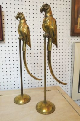 Vintage MCM pair of Brass parrots on stands