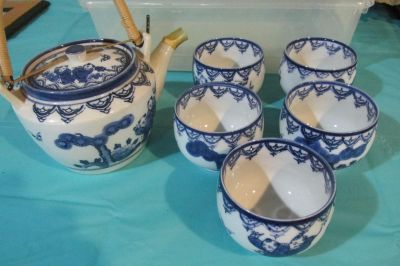 Blue and White Willow Japanese Tea Set