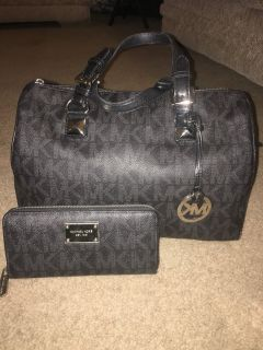 Michael Kors Black Monogram Satchel & Wallet