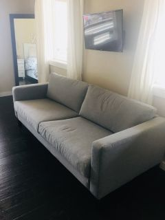 ikea karlstad couch with brand new gray slipcover
