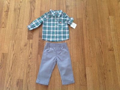 New Carter's Baby Boy 2-Piece Striped Button Shirt & Grey Pants Set, Outfit, size 9 months