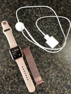 38mm Apple Watch Rose Gold + sport band, mesh band, & Charger! Series 1!