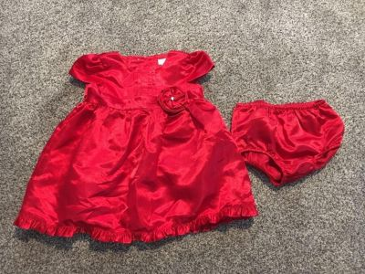 Chap s Red Christmas Dress with Diaper Cover - 6 months
