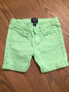 Lime green jean short for girls size 5