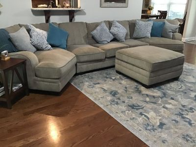 Livingroom couches (3 pieces) with matching ottoman(w/storage)