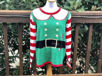 Women s Holiday Elf Ugly Christmas Sweater - Sz XL (16/1