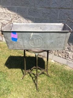 vintage A&P grocery store galvanized steel metal bins with handles ~ rare!