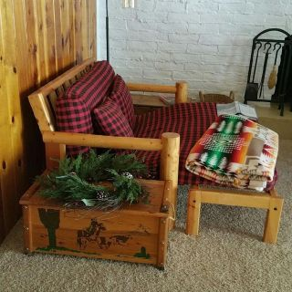 Lodgepole futon bed with comfortor and pillows