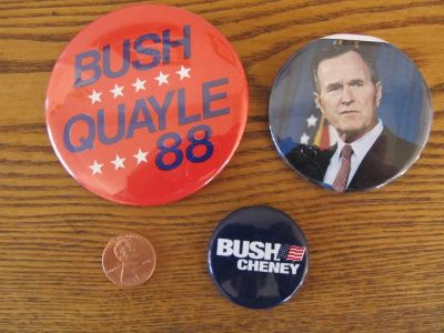 Reduced~Bush Political Pins~Vintage~Reduced