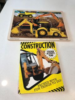 Construction puzzle and sticker book! EUC (except 1st page see pic) NS/NP home