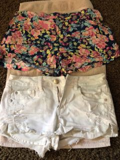 Shorts (white size 4, floral size large)
