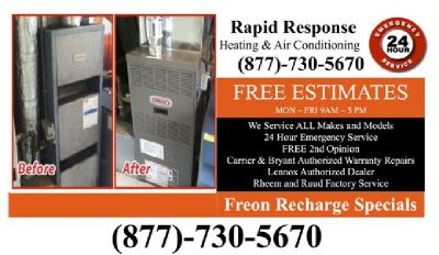 Emergency Heating and Air Conditioning Repair / Replacement Installations Free Estimates