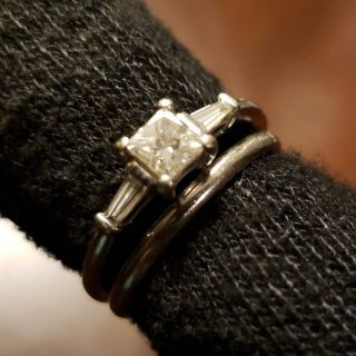 14K white gold .50 carat princess cut diamond ring