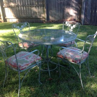 Woodard Chantilly rose patio table and four chairs