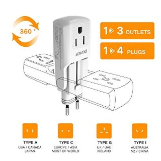 DOACE 1>3 10A Universal Travel Adapter with 3 AC Outlets, 1>4 All in One International Power Ada...