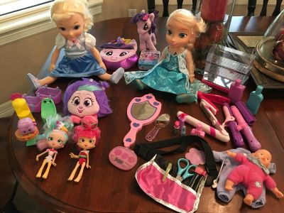 Hair dresser toys,shopskins, Anna and Cinderella, my little pony