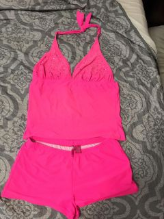 GUC Hot Pink TANKINI with rindstones on top 1X