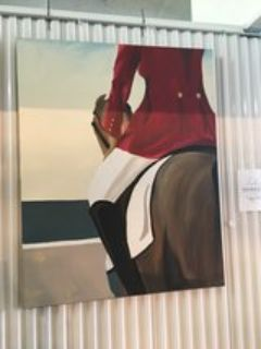 Large Hand Painted Horse Rider On Canvas Painting