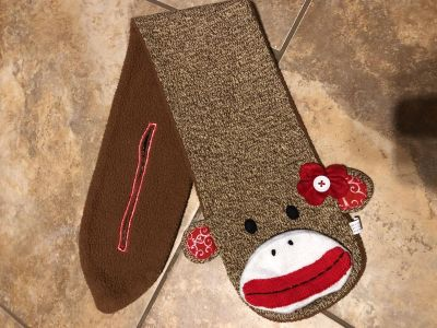 Sock Monkey Adorable Scarf. Great For The Cool Weather Coming.