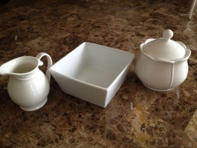 NEW LOT OF 3 - Shabby Chic White creamer, sugar & tea containers / dispensers