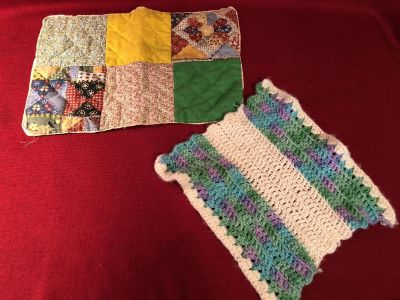 Pair of Doll Blankets. Quilted - 15 x10 ; Knit - 11 x10 . EUC