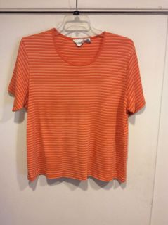 Tangerine and orange striped colored T-Shirt Styled Top, Size 22/24, 3X