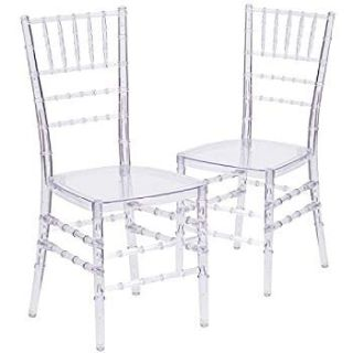 "CHIAVARI ""ICE"" CRYSTAL RESIN CHAIR WITH FREE 2"" CUSHION"