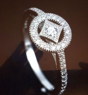 LADIES FASHION STERLING SILVER FILLED ROUND CUT WHITE SAPPHIRE SIZE 8 NEW 1 available