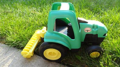 Hasbro Tonka Farms Green Plastic Tractor with Attached Disc approx 15x8x9""