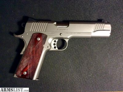 For Sale: LNIB Kimber Stainless 45 Acp Full Size with Meprolight night sights and Cocobolo grips added, two Kimber Stainless magazines