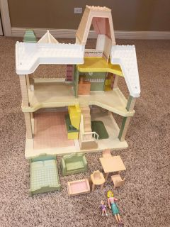 vintage playskool victorian big loving family doll house people local pickup