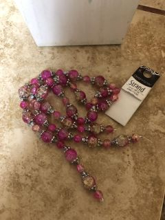 NWT-strand of pink glass beads -DIY PROJECT