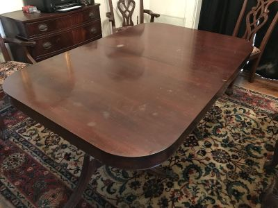 Mahogany clawfoot table with chairs